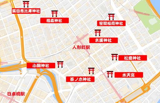 日本橋・七福神巡りの地図