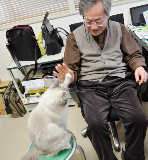 太田教授が「タッチ」と言うと自然と手を出すしらゆきちゃん