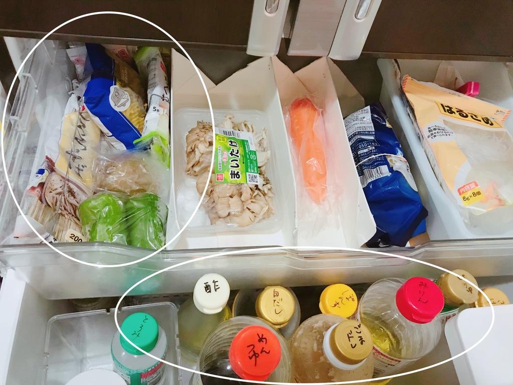 「使いかけ食材」はまとめて、「調味料」はボトルのフタに明記して取り出しやすく