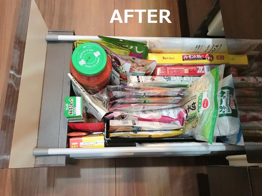 食材を立てて収納すると、探している食材を見つけやすくなります。