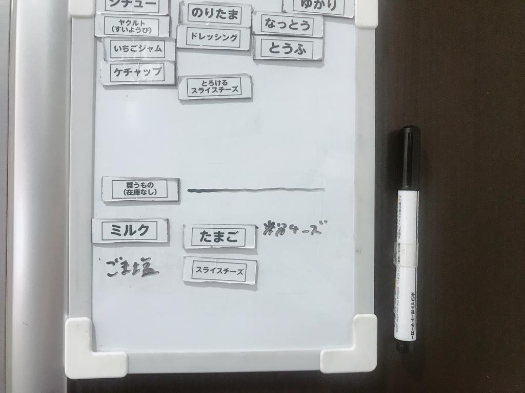 シート型のマグネットにラベルを貼り、ホワイトボードで管理しています。